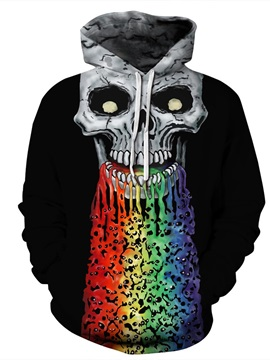 Halloween Skull Pullover Loose Model Kangaroo Pocket 3D Painted Hoodie