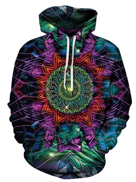 Lightweight Pullover Kangaroo Pocket Casual Style 3D Painted Hoodie