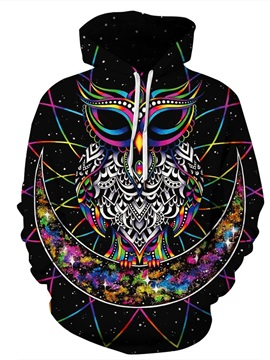 Unisex Pullover Lightweight Bright Color Workout 3D Painted Hoodie