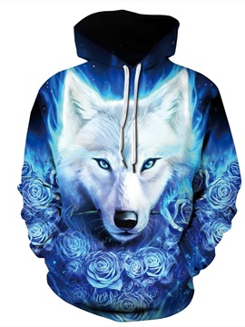 Wolf Cool Design Fastness Clear Print Athletic 3D Painted Hoodie