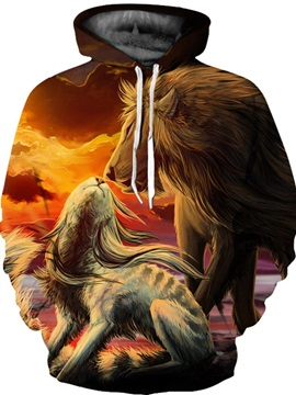 Lightweight Fastness Polyester Kangaroo Pocket Pullover 3D Painted Hoodie