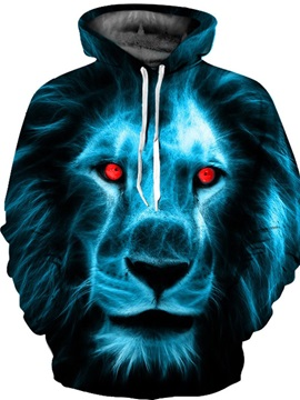 Lion Red Eyes Loose Model Vibrant Color 3D Painted Hoodie
