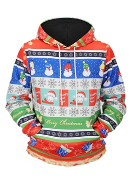 Loose Model Casual Style Christmas Pullover Couple 3D Painted Hoodie