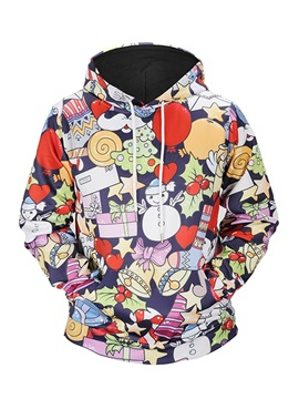 Christmas Lightweight Pullover Casual Style 3D Painted Hoodie