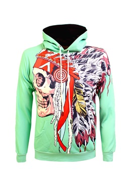 Funny Skull Pattern Pullover Workout Polyester 3D Painted Hoodie