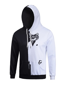 Black&White Loose Model Pullover Vivid Color 3D Painted Hoodie