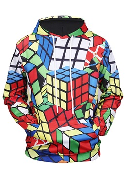 Creative Cube Lightweight Pullover Fastness 3D Painted Hoodie
