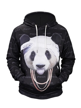 Funny Panda Pattern Loose Model Kangaroo Pocket 3D Painted Hoodie