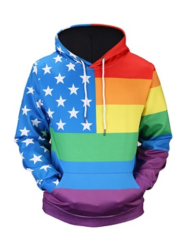 Color Block Pullover Unisex Vivid Color 3D Painted Hoodie