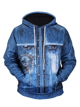 Denim Eagle Kangaroo Pocket Pullover Casual Style 3D Painted Hoodie