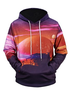 Loose Model Casual Style Pullover Kangaroo Pocket Workout 3D Painted Hoodie