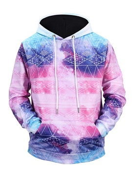 Lightweight Pullover Kangaroo Pocket Casual Style Athletic 3D Painted Hoodie