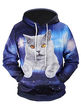 Funny Cat Pattern Unisex Casual Style Pullover 3D Painted Hoodie