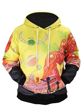 Loose Model Pullover Couple Kangaroo Pocket 3D Painted Hoodie