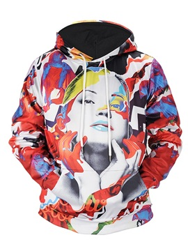 Lightweight Kangaroo Pocket Pullover 3D Painted Hoodie