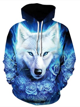 3D Fire Wolf Pattern Color Block Long Sleeve Cool Hoodies