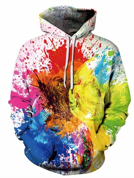 Fashion Long Sleeve Colorful Front Pocket Pattern 3D Painted Hoodie