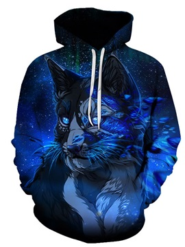 Beddinginn Casual Animal Thick Print Pullover Men's Hoodies