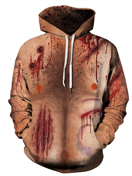 Chest Hair Design Personality Style Emulational Skin Pattern 3D Painted Pullover Hoodies
