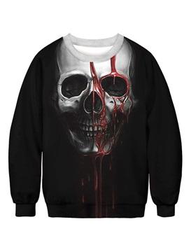 Long Sleeve Round Neck Black Bleeding Skull 3D Painted Pullover Winter Men's Hoodies