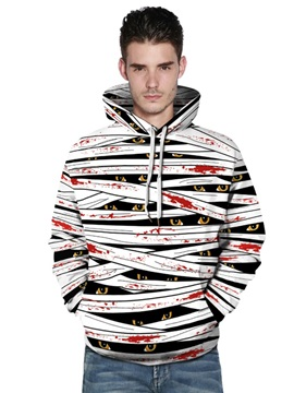 Long Sleeve White and Black Eyes 3D Painted Pullover Loose Men's Hoodies
