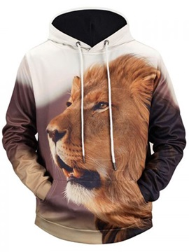 Cool Lion 3D Printed Front Pocket Thick Pullover Casual Men's Hoodies