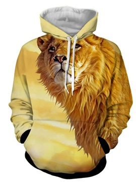 Long Sleeve Lion 3D Printed Thick Hooded Men's Hoodies