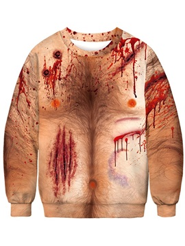 3D Painted Open Wound Thick Round Neck Pullover Color Block Pullover Men's Hoodies