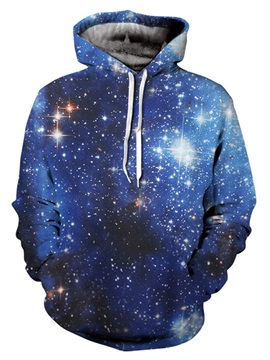 Fashion 3D Painted Galaxy Blue Front Pocket Pullover Casual Men's Hoodies