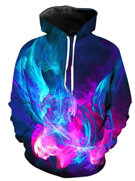 Cool Colorful Light 3D Printed Pullover Front Pocket Thick Men's Hoodies