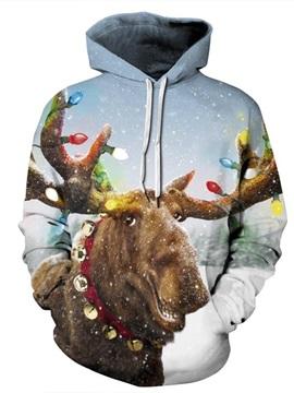 Christmas Cute Elk Pattern 3D Painted Long Sleeve Hoodie