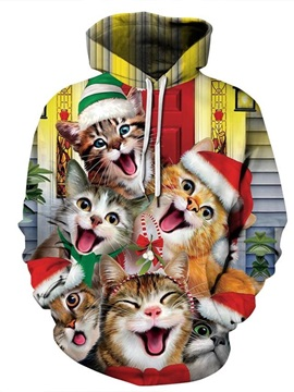 Christmas Happy Cats Pattern 3D Painted Long Sleeve Hoodie