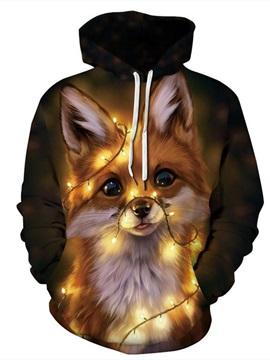 Christmas Beautiful Fox Pattern 3D Painted Long Sleeve Hoodie