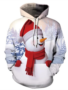 Christmas Snowman with red Scarf Pattern 3D Painted Long Sleeve Hoodie