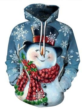 Christmas Happy Snowman Pattern 3D Painted Long Sleeve Hoodie