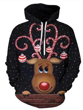 Christmas Cute Cartoon Elk Pattern 3D Painted Long Sleeve Hoodie