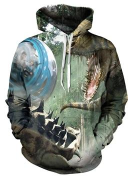 Jurassic World Dinosaur Printed 3D Print Graphic Sweatshirts Long Sleeve Cotton Pullover Hoodies with Pocket