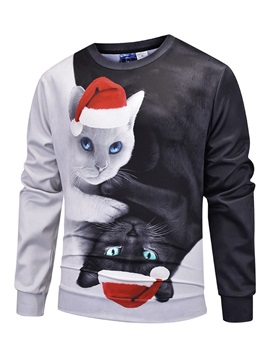 Soft and Comfortable Christmas Black and White Cat Printed Unisex 3D Realistic Digital Print Pullover Hoodie