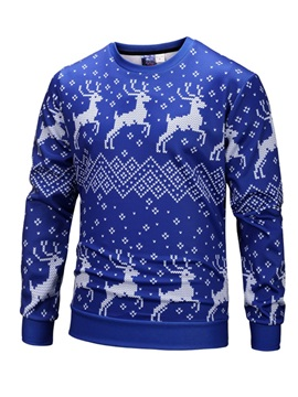 Soft and Loose Christmas Sweater 3D Print Christmas Elks Pullover Sweatshirt Hoodies
