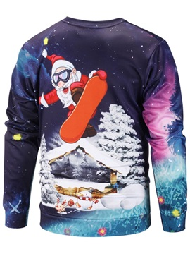 Unisex Funny Father Christmas Print Christmas Sweater Jumper Casual Hoodies
