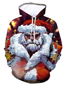 3D Creative Powerful Father Christmas Printing Athletic Casual Pullover Hooded Sweatshirt