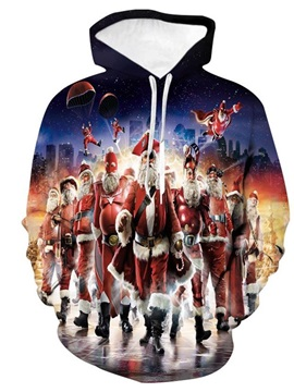 3D Creative Father Christmas Printing Novetly Pullover Hooded Sweatshirts with Pockets