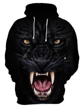 Realistic 3D Black Leopard Print Cool Pullover Hoodies Sweatshirts