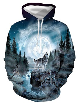 Soft Warm Realistic 3D Digital Print Pullover Hoodies Sweatshirt Sweaters with Moon and Wolf Pattern