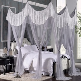 Rococo Style Grey Polyester Eight-point Bed Canopy