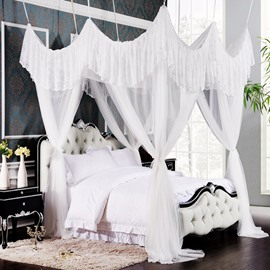 Luxurious Rococo Style White Polyester Eight-point Bed Canopy
