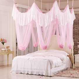 Excellent Lace Embellishment Pink Polyester Eight-point Bed Canopy