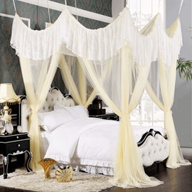 Romantic Light Yellow Lace Embellishment Polyester Eight-point Bed Canopy