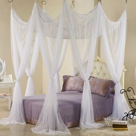 Fabulous White Polyester Eight Cornert Mosquito Net Bed Canopy Set
