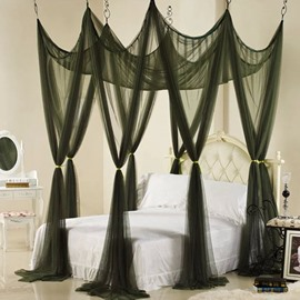 Elegant Dark Green Polyester Eight-point Bed Canopy